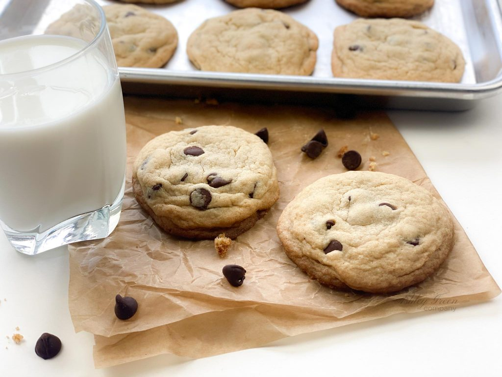 These chocolate chip cookies were baked in Rae's Bakery by Ashley Rae. Work with me to create beautiful food photos and recipes like this one!