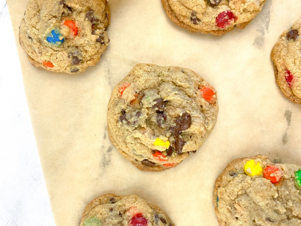 Easy to make monster cookies with chocolate chips, peanut butter chips, and m&ms.