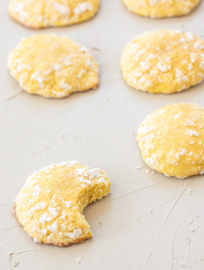 lemon cookies rolled in powdered sugar.