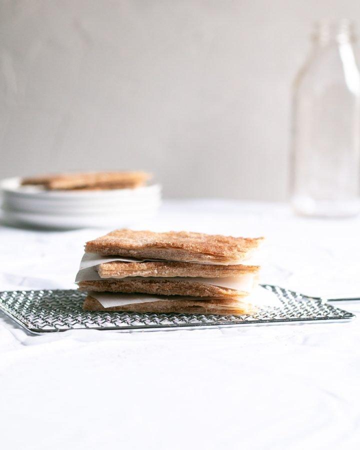 cinnamon sugar squares on a cooling rack